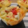 Tulipas con macedonia y crema sabayon y tulipas con champiñones y gambas