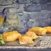 Paquetes de salmón y torta del casar